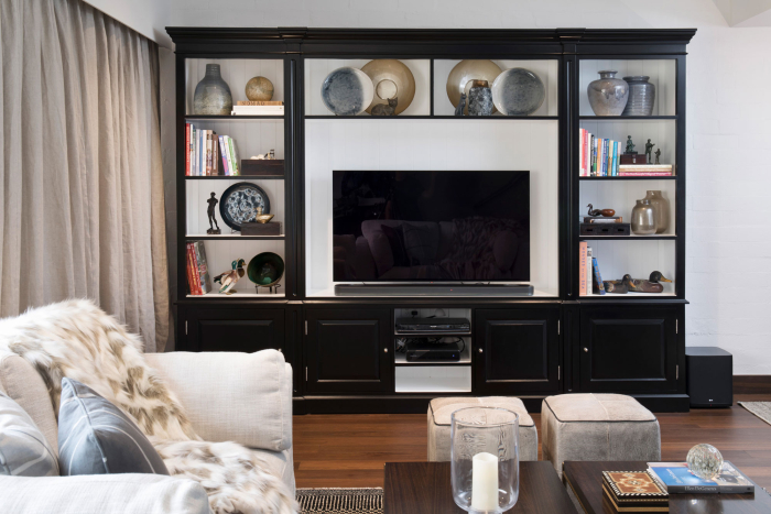 apartment remodel built in bookcase tv console interior decorating canberra masculine classic