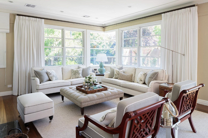 canberra hamptons living room white classic elegant curtains windows white sofa