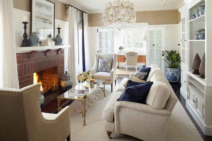 canberra living room hamptons style decorating winter warm fireplace pillows