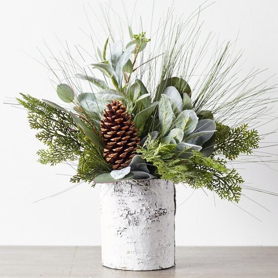 winter bouquet pine cones eucalyptus white bark vase journey home interiors canberra