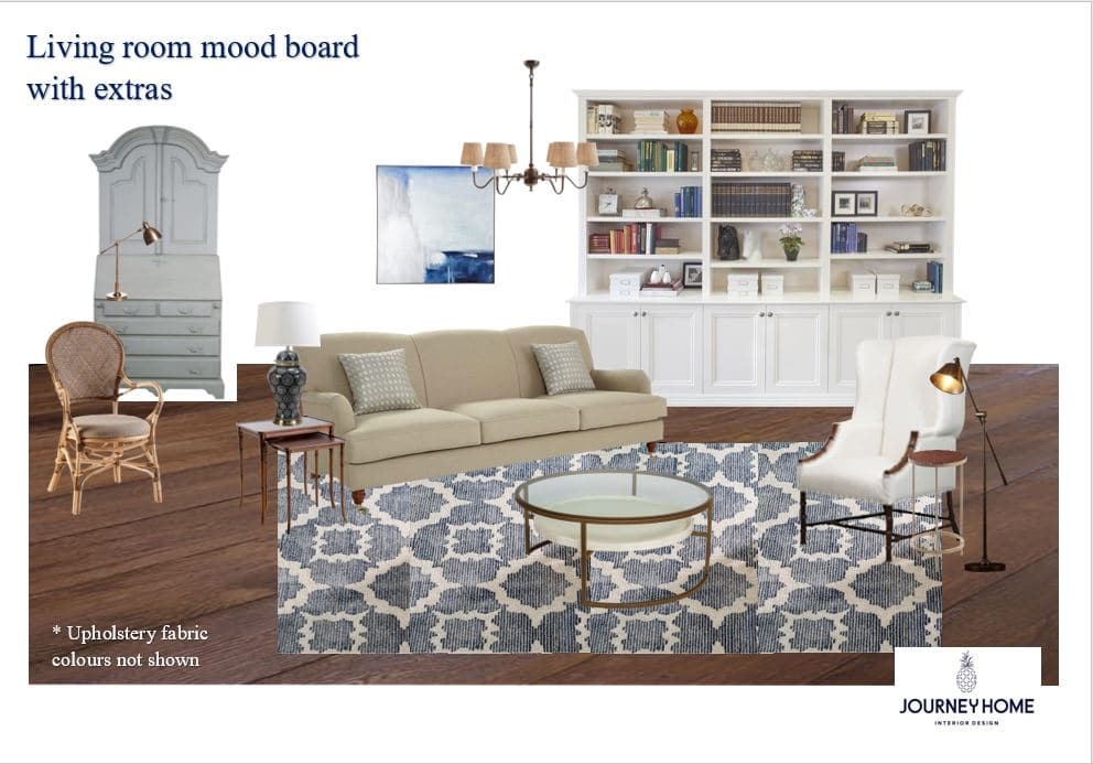 furniture moodboard classic style color pattern sofa blue white rug classic decorating journey home interiors