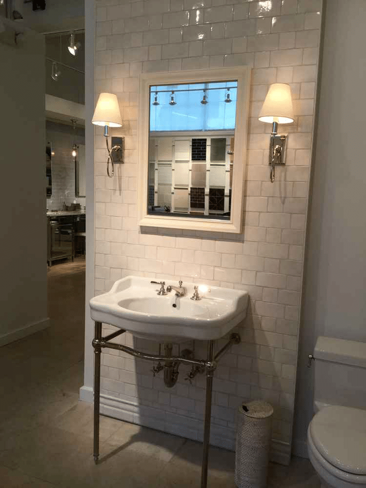 bathroom inspiration sink vanity traditional sconces white classic subway tile journey home interiors