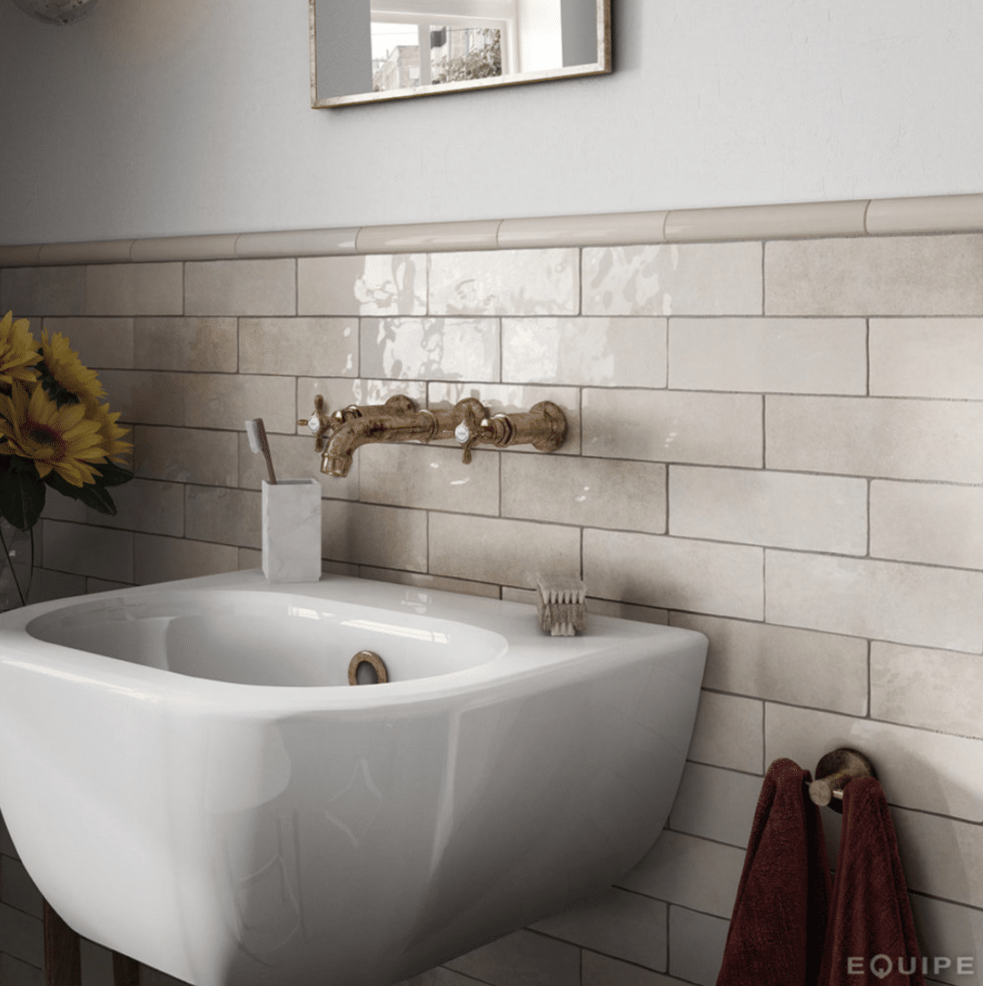 subway tile in variegated beige white mosaic depth glaze classic style journey home interiors