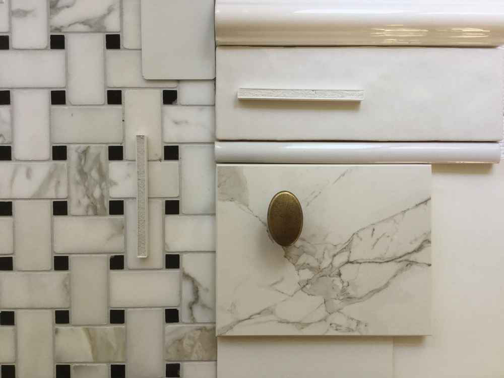 journey home interiors nadine nielson tile inspiration basketweave marble hardware classic white