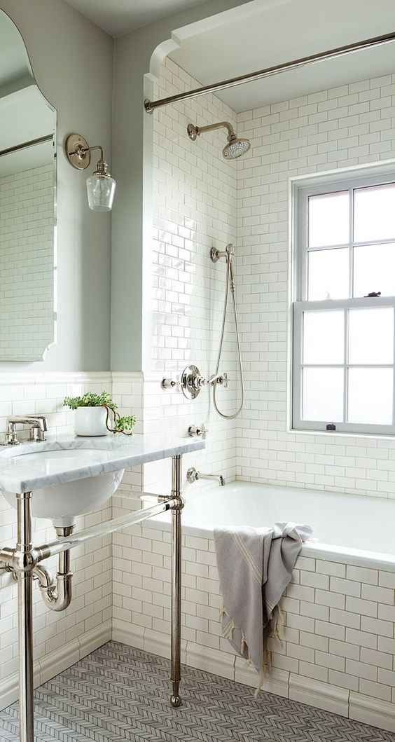 design inspiration classic white subway tile vanity marble gold hardware sconces journey home interiors canberra