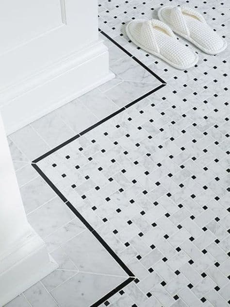 bathroom renovation tile inspiration basketweave pattern black center edging classic gorgeous