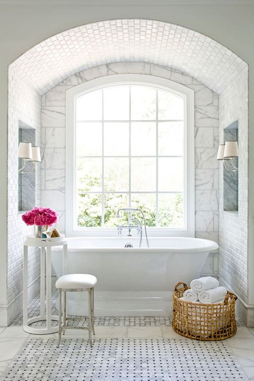 classic elegant bathroom arch marble tile basketweave free standing tub canberra australia