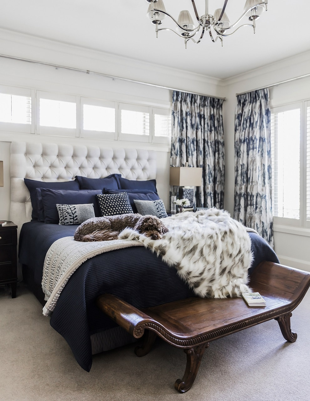 deakin classic bedroom colour palette navy white cream luxury sophisticated canberra decorating project
