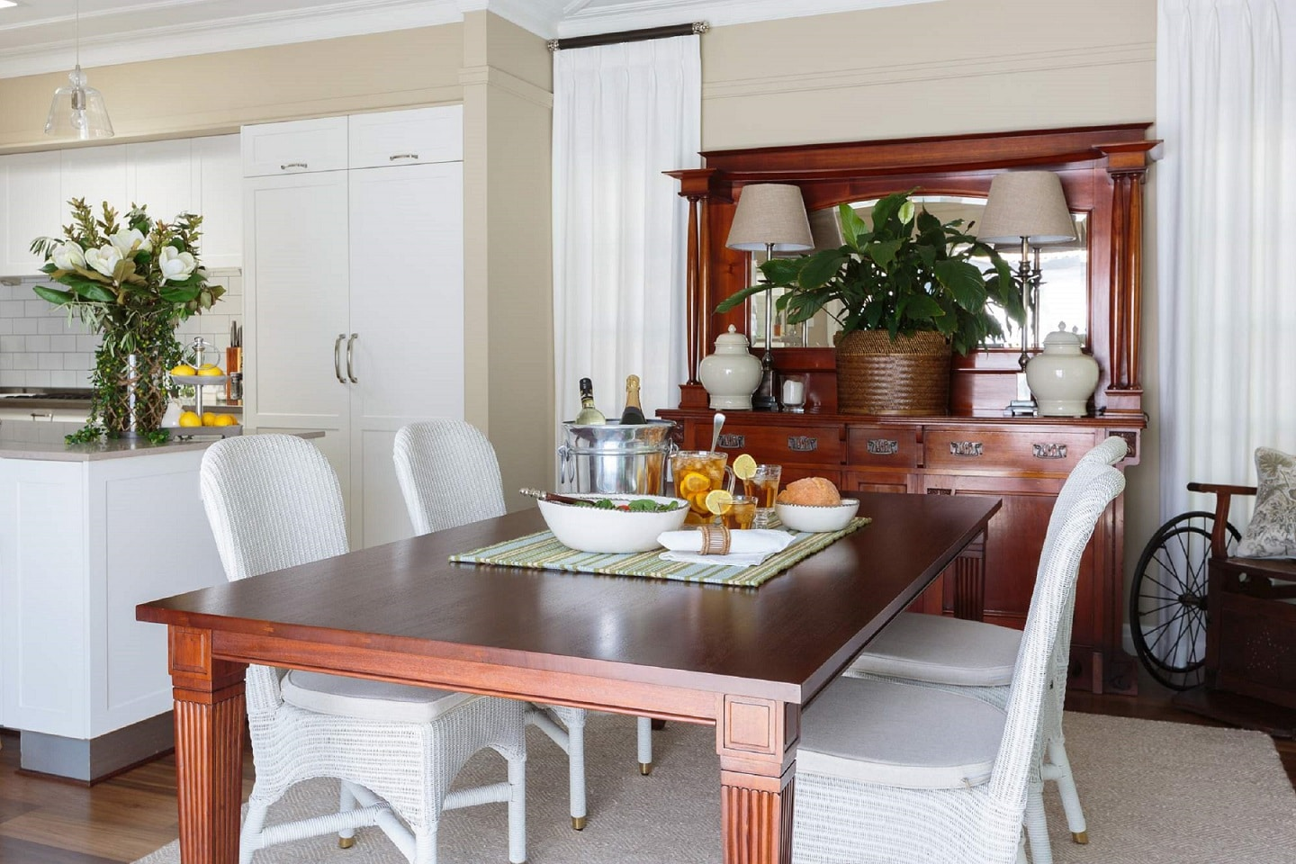 anzac dining table classic chairs drapery styling tips