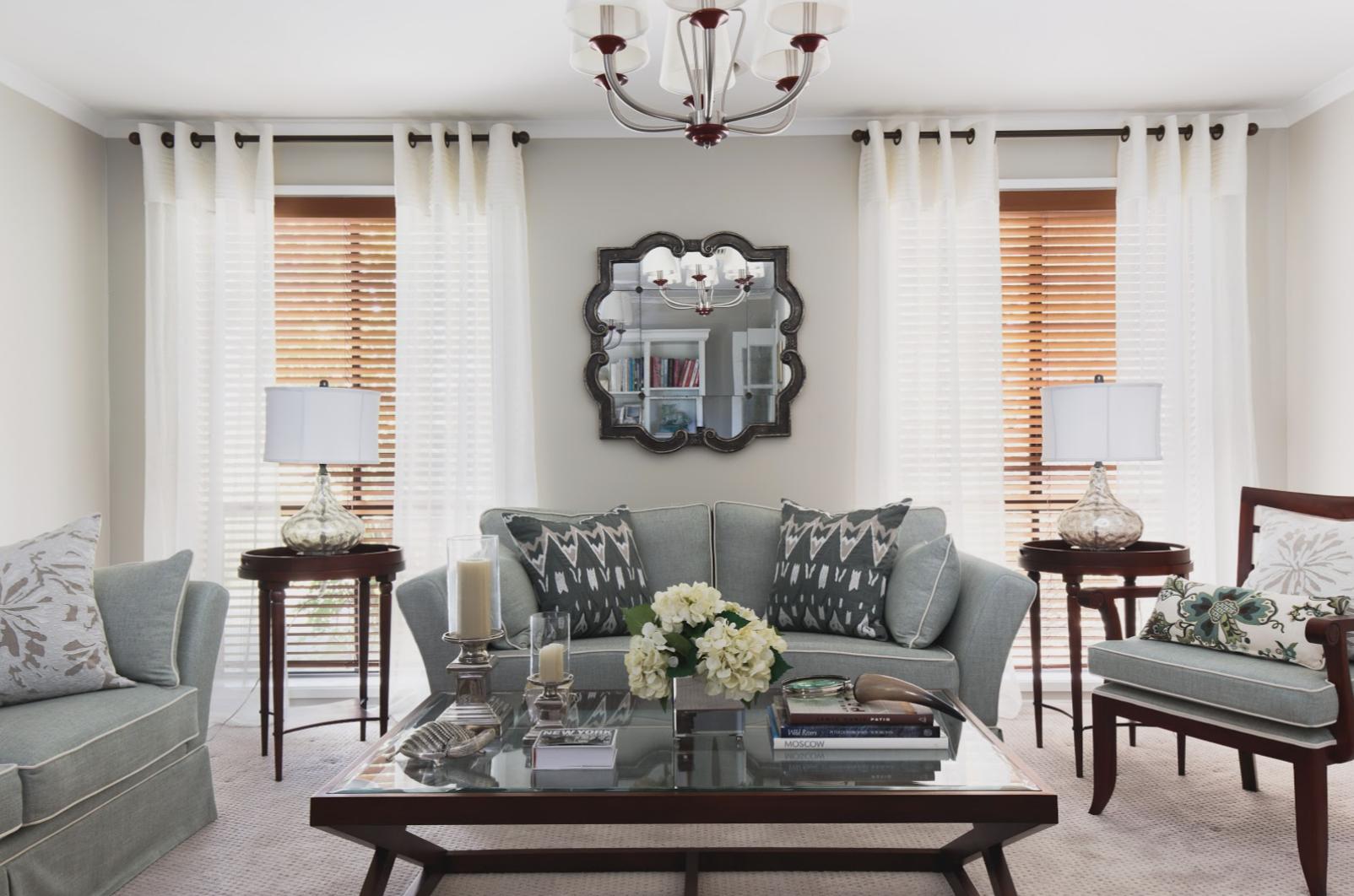 classic traditional elegant living room timber venetian blinds sheer window treatments journey home interiors