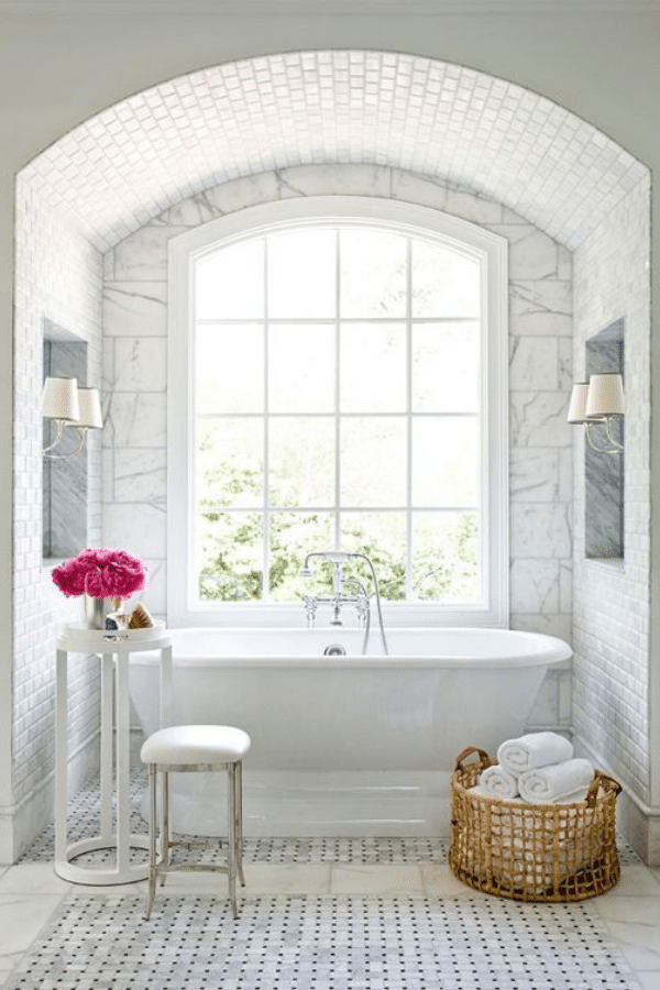 bathroom inspiration white bright classic basketweave tile arches tub canberra
