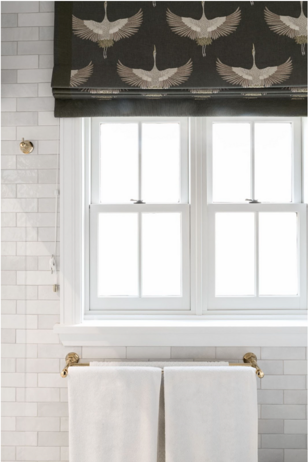 journey-home-canberra-au-bathroom-renovation-roman-shades-and-towels-hanging-from-gold-hardware