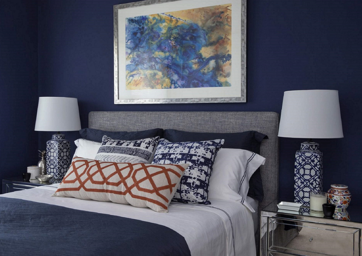 journey-home-interiors-canberra-au-diy-dilemmas-bedroom-navy-painted-walls-colorful-artwork